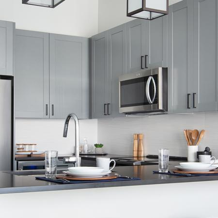 Interior kitchen with stainless appliance package