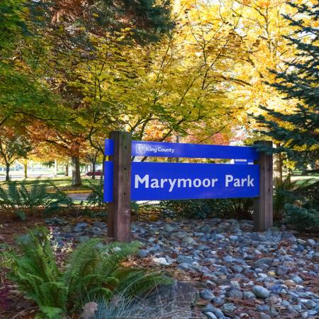 Exterior sign for Marymoor Park