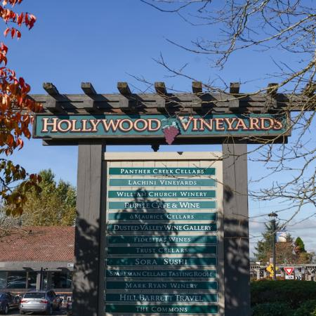 Exterior of local establishment Hollywood Vineyards