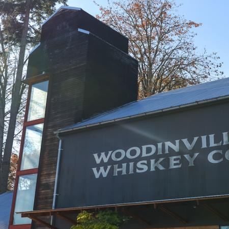 Exterior of local establishment Woodinville Whiskey Co.