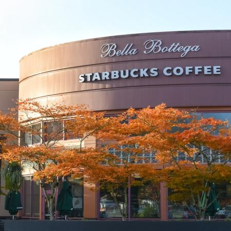 Exterior of local establishment Bella Bottega Starbucks Coffee
