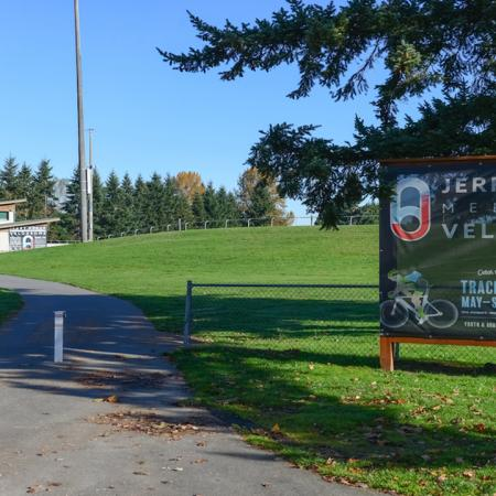 Entrance to walking trail for Jerry Baker Memorial Velodrome