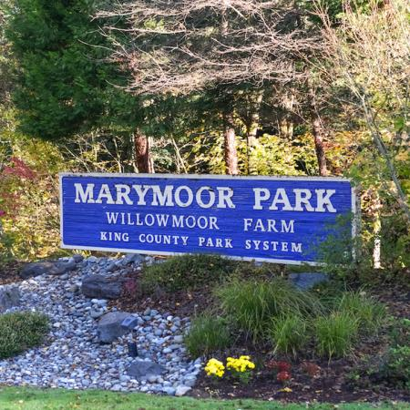 Well manicured area for sign for Marymoor Park