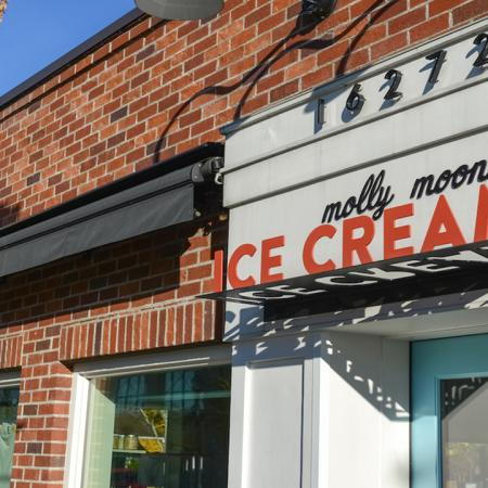 Exterior of local establishment Molly Moon's Ice Cream