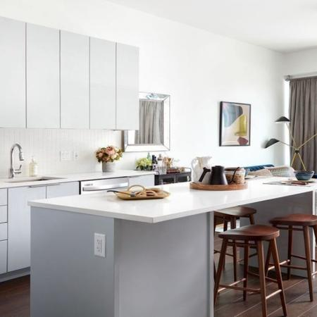 Modern Kitchen with Tall Cabinetry and Functional Storage