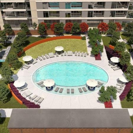 30,000 square foot Pool Deck Featuring Cabana Lounges, Fire Pits, and Grilling Stations