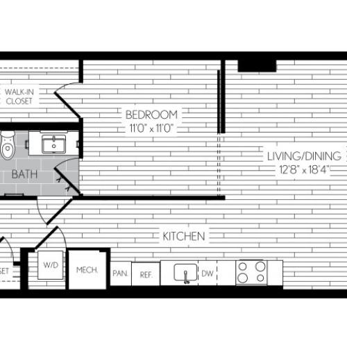 668 square foot one bedroom one bath apartment floorplan image