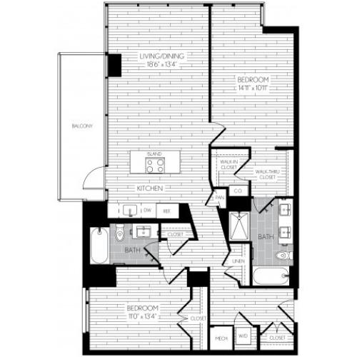 1221 square foot two bedroom two bath apartment floorplan image