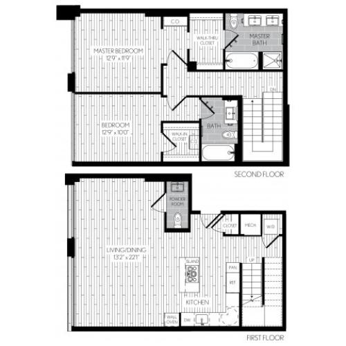 1324 square foot two bedroom two and a half bath two level apartment floorplan image