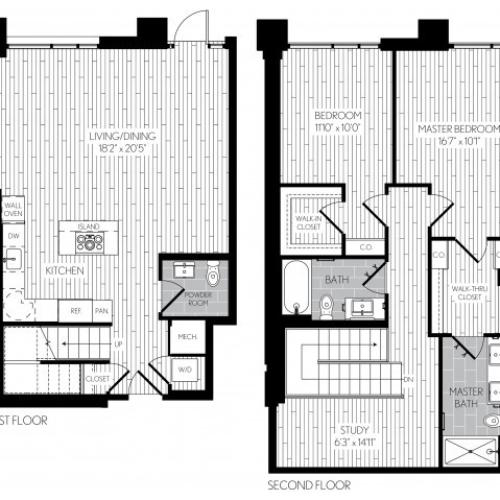 1421 square foot two bedroom two and a half bath two level apartment floorplan image