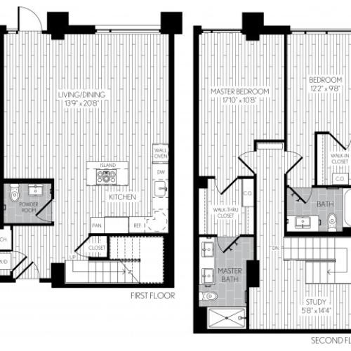 1466 square foot two bedroom two and a half bath two level apartment floorplan image with left side stair case