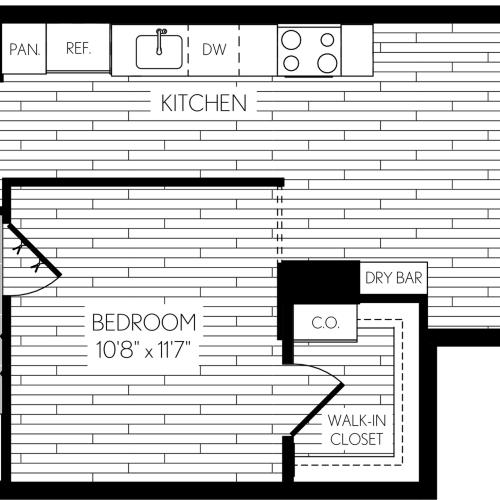 753 square foot one bedroom one bath den apartment floorplan image