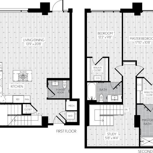 1466 square foot two bedroom two and a half bath two level apartment floorplan image with right side stair case