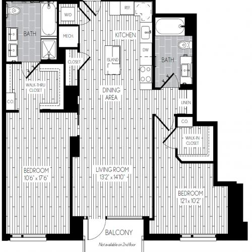 1121 square foot two bedroom two bath apartment floorplan image