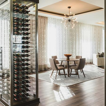 Wine tasting room with floor to ceiling wine storage