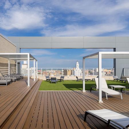 Expansive roof top deck with ample social seating for work or play