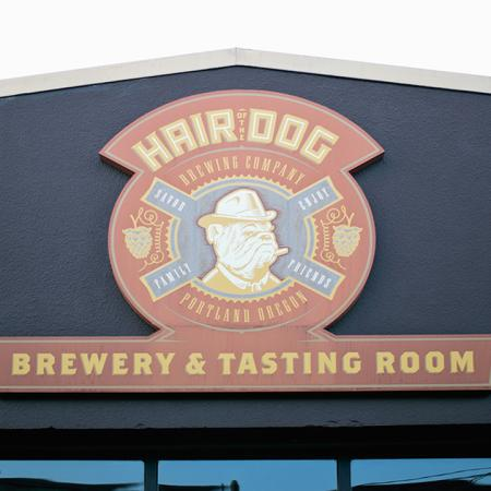 Exterior sign of Hair Dog Brewery and Tasting Room