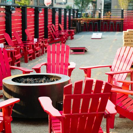 Outdoor Adirondack seating around a fire pit