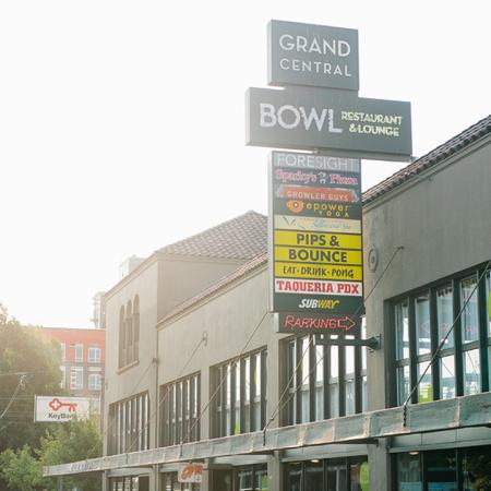 Exterior signage of local businesses