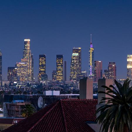 evening View of downtown LA on the roof