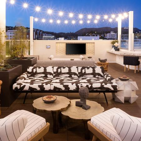 Twinkling lights on the rooftop in the evening