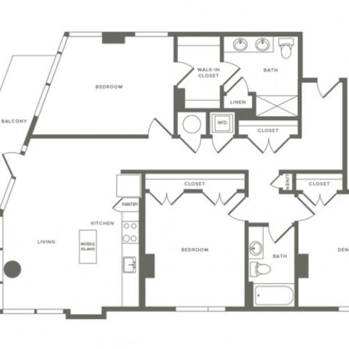 1355 to 1437 square foot three bedroom two bath apartment floorplan image