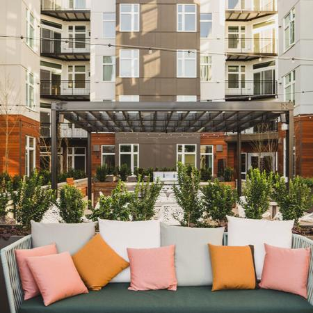 Interior courtyard with plush social seating
