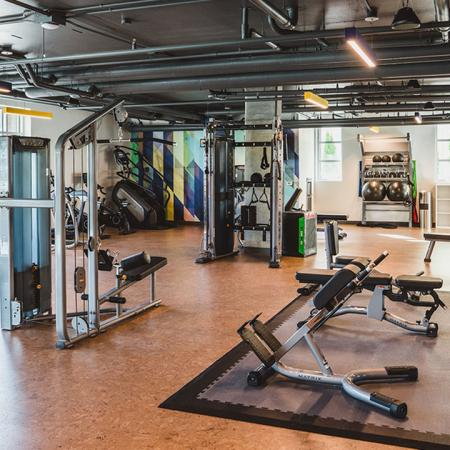 24-hour fitness studio with ample equipment