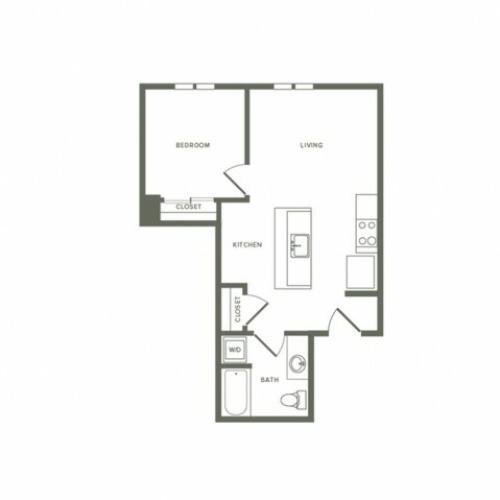 623 square foot one bedroom one bath apartment floorplan image