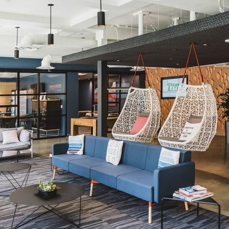 Hanging chairs in the lobby with chic design