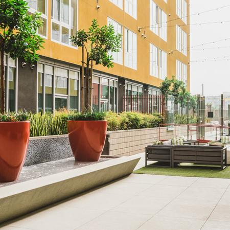 Outdoor courtyard with potted plants