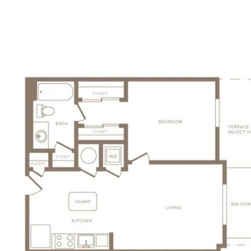 730 square foot one bedroom one bath phase II apartment floorplan image