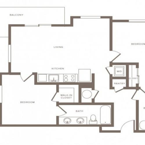 1090 square foot two bedroom two bath phase II apartment floorplan image