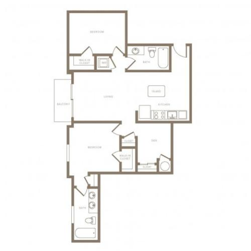 1123 square foot two bedroom two bath phase II apartment floorplan image