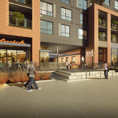 Rendering of exterior of building featuring option of sandwich shop
