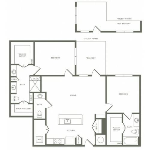 B03 floor plan two bedroom two and a half bathroom
