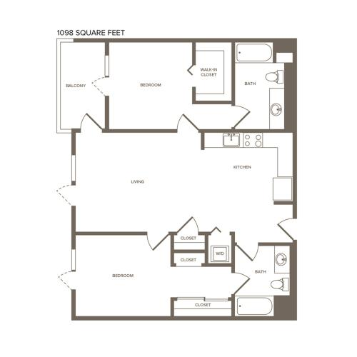 1099 square foot two bedroom two bath floor plan image