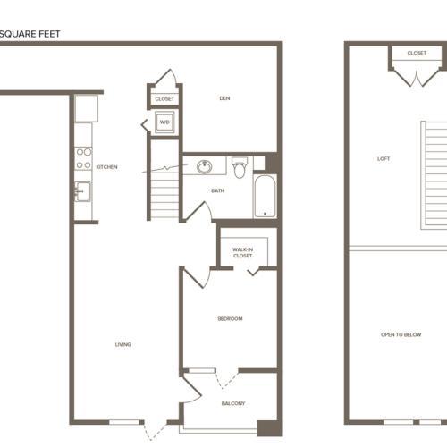 1333 square foot two bedroom one bath floor plan image