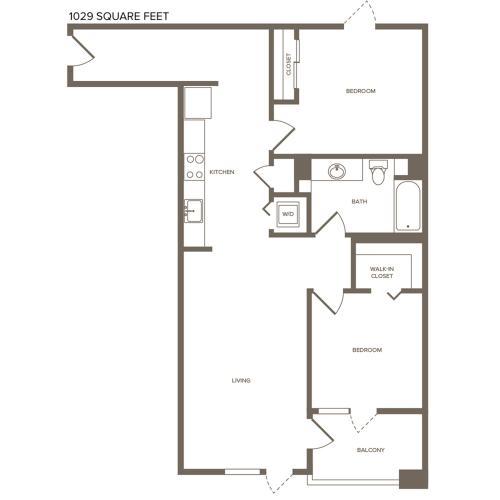 1029 square foot two bedroom one bath floor plan image