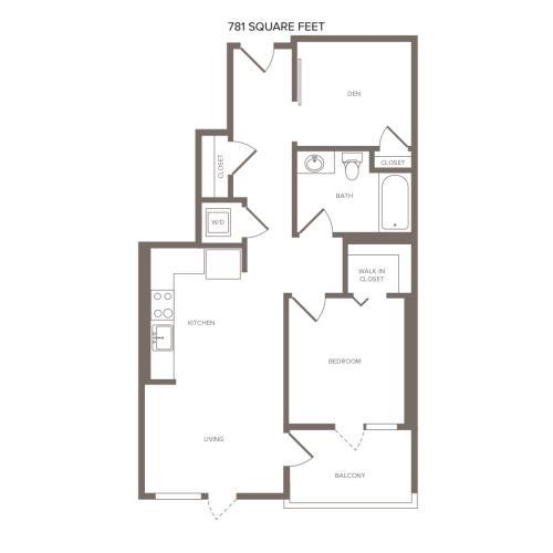781-811 square foot one bedroom one bath floor plan image