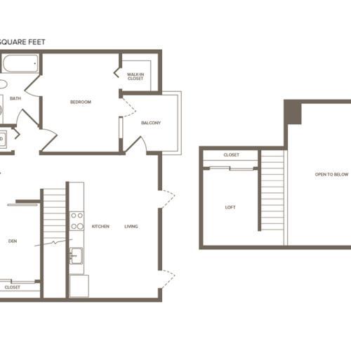 951 square foot two bedroom one bath loft floor plan image