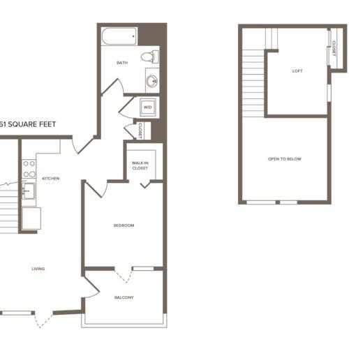 882 square foot one bedroom one bath loft floor plan