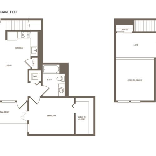 835 square foot one bedroom one bath floor plan