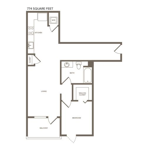774-808 square foot one bedroom one bath floor plan