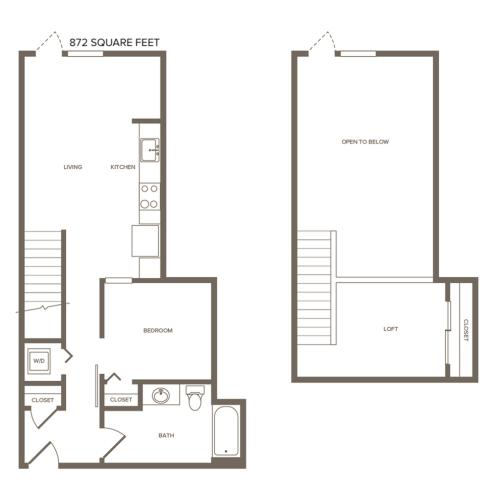 872 square foot one bedroom one bath loft floor plan image