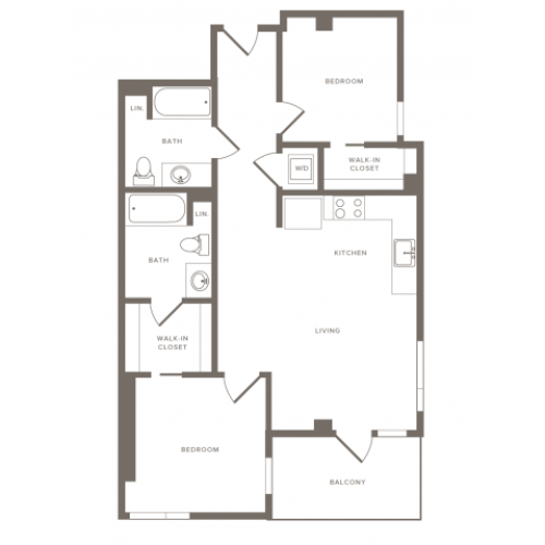Floorplan image of B05 is 956 square foot two bedroom two bath