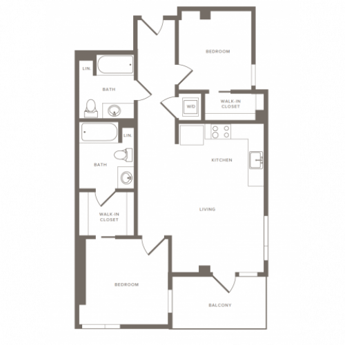 Floorplan image of B05 is 956 SF