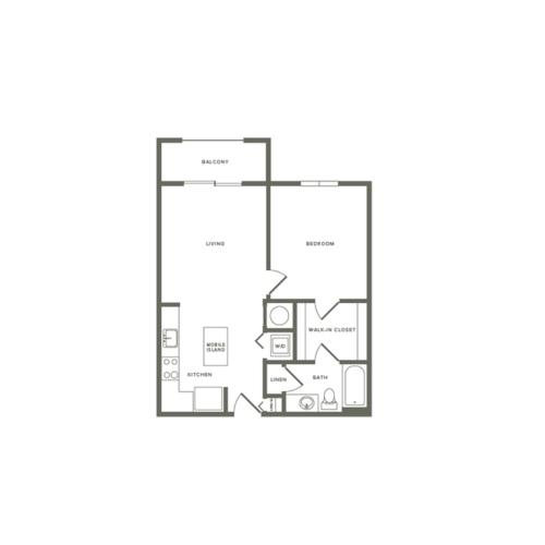 700 square foot one bedroom one bath apartment floorplan image