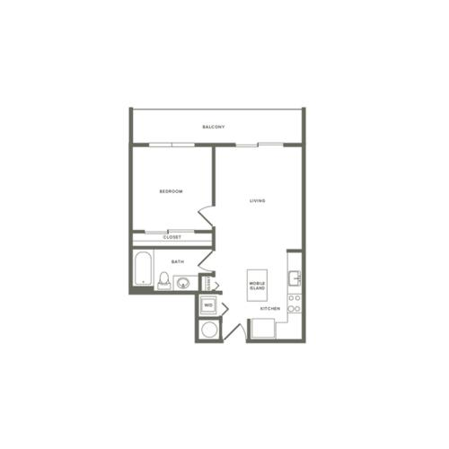 705 square foot one bedroom one bath apartment floorplan image