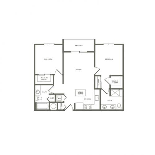 999 square foot two bedroom two bath apartment floorplan image